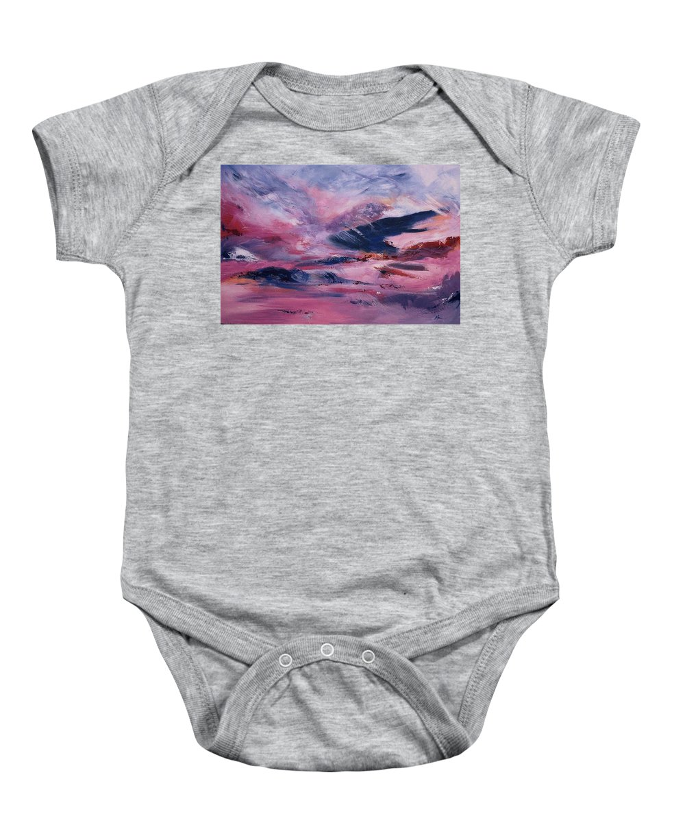 Abstract Baby Onesie featuring the painting I've Liked by Melody Horton Karandjeff