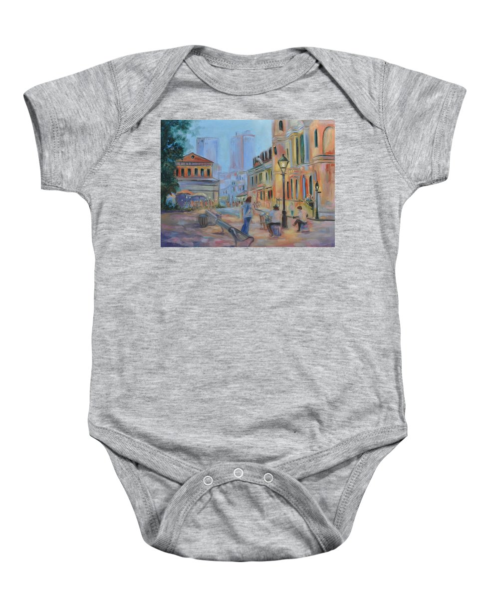 New Orleans Baby Onesie featuring the painting Jackson Square Musicians by Ginger Concepcion