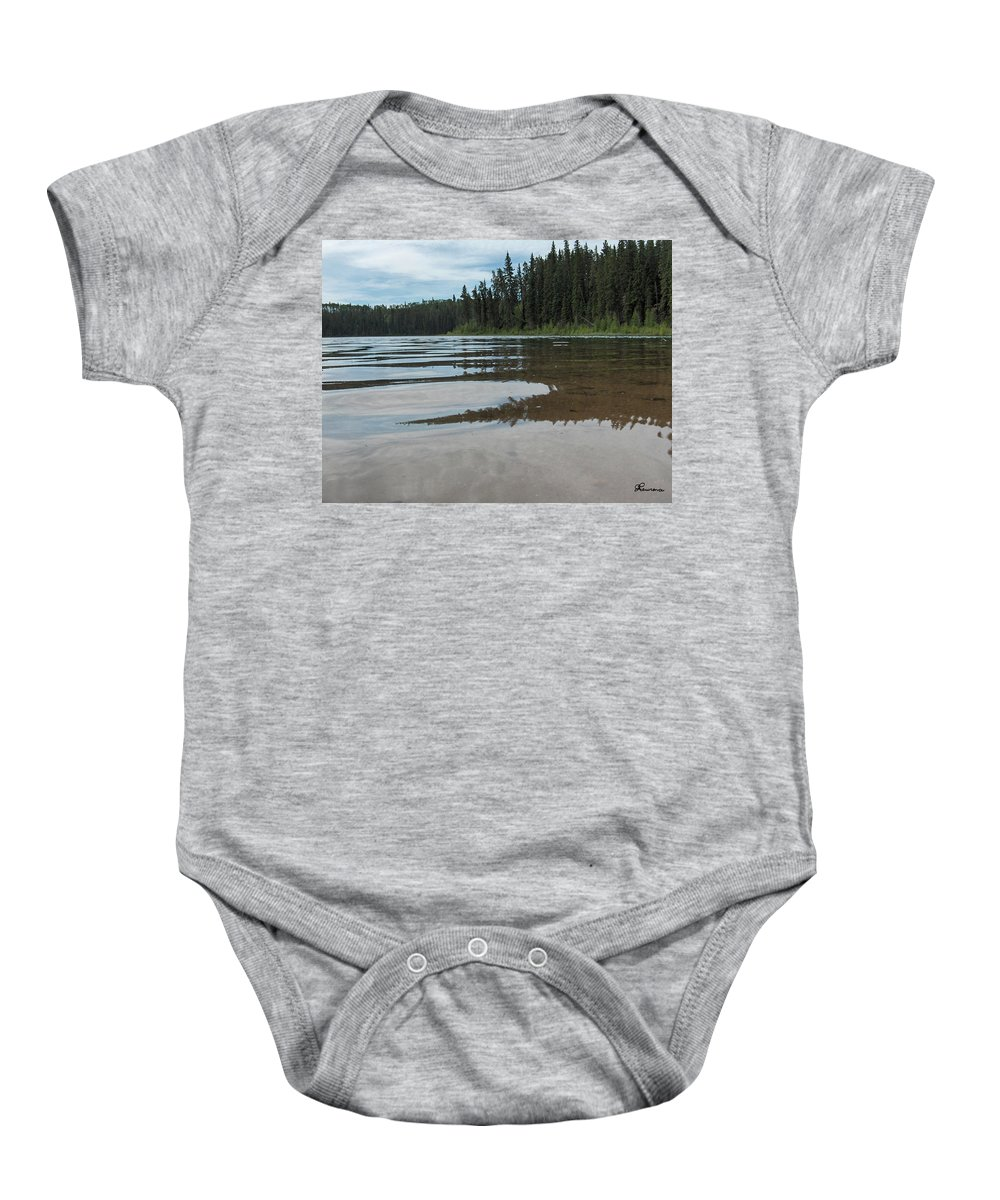 Jade Lake Piprell Lake Hanson Lake Road Northern Saskatchewan Water Clear Forest Trees Baby Onesie featuring the photograph Jade Lake by Andrea Lawrence