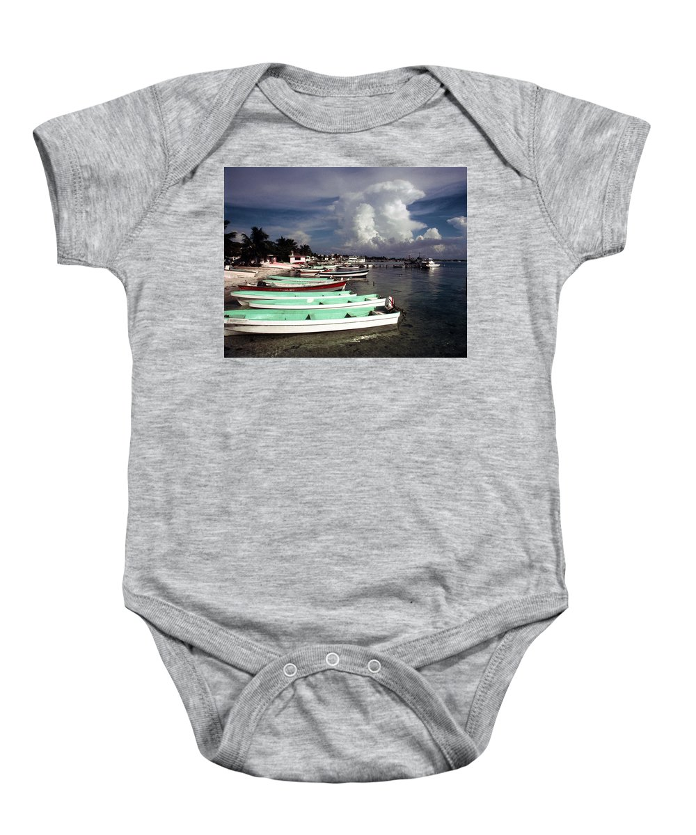Fishing Baby Onesie featuring the photograph Jamaican Fishing Boats by Herman Robert