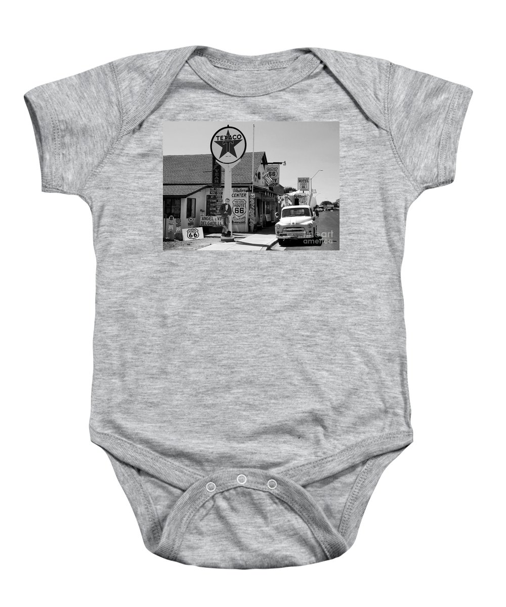 James Dean Baby Onesie featuring the photograph James Dean On Route 66 by David Lee Thompson
