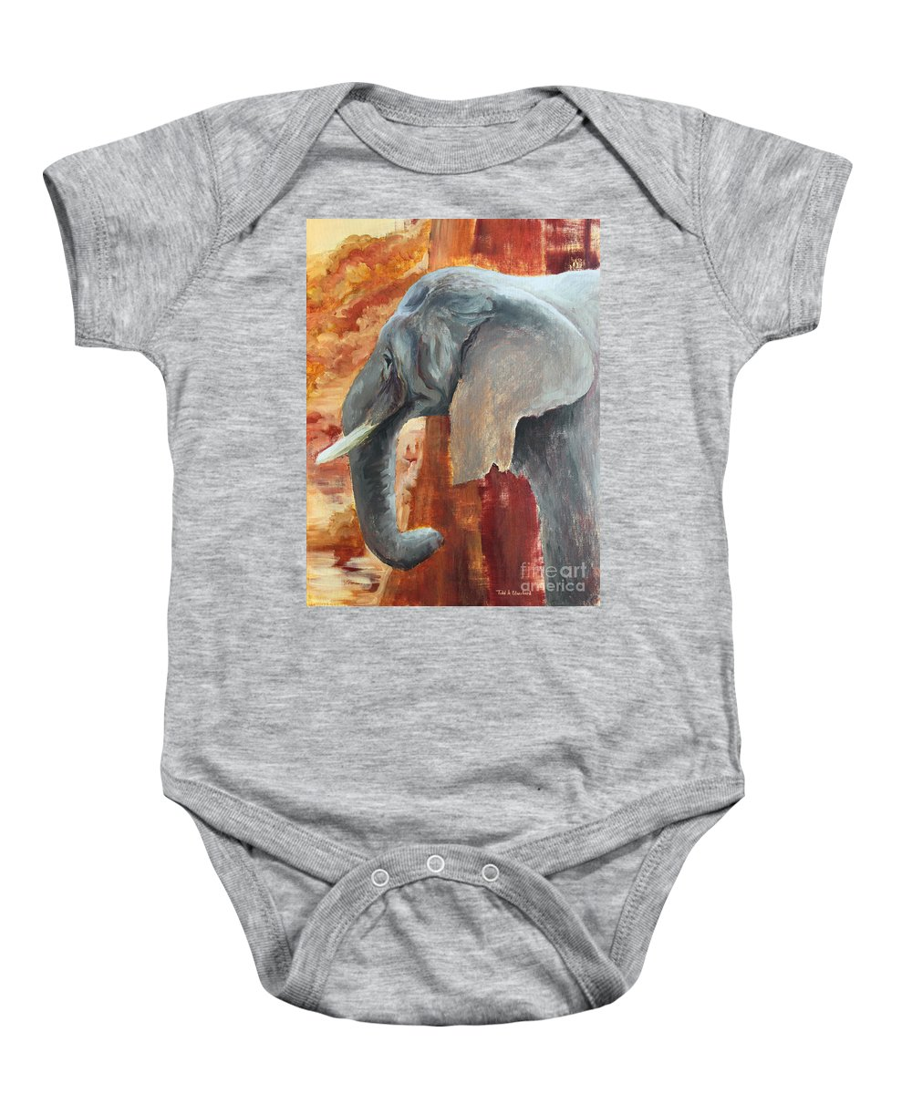 Animal Baby Onesie featuring the painting Jana by Todd Blanchard