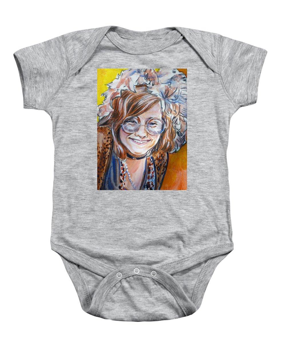Janis Joplin Baby Onesie featuring the painting Janis Joplin by Bryan Bustard
