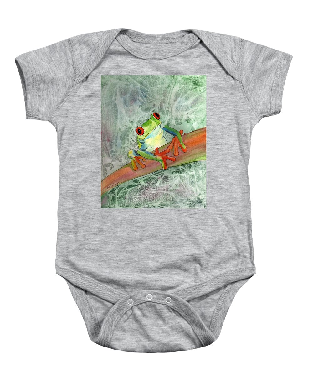 Rainforest Baby Onesie featuring the painting Jeepers Creepers by CB Woodling