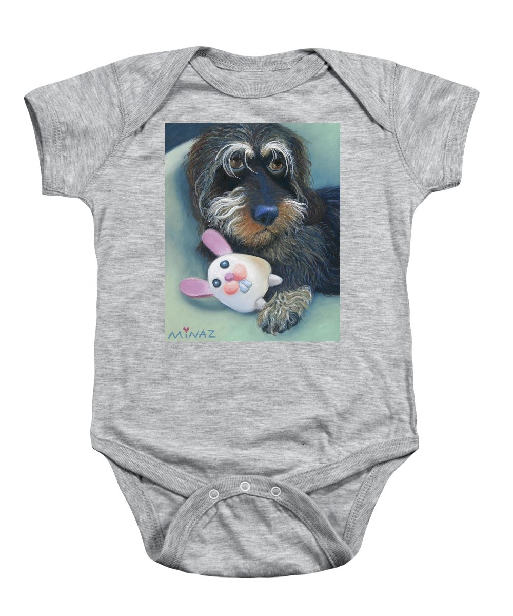 Dog Baby Onesie featuring the painting Jeez Donot Touch Ma Squeez by Minaz Jantz