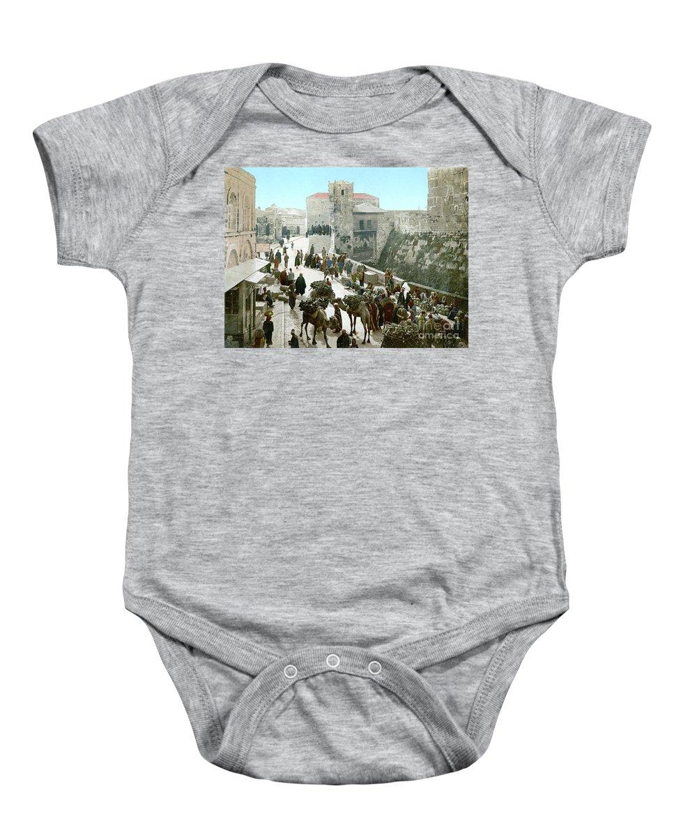 1900 Baby Onesie featuring the photograph Jerusalem: Bazaar, C1900 by Granger