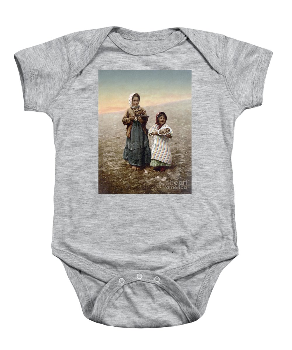 1900 Baby Onesie featuring the photograph Jerusalem Girls, C1900 by Granger