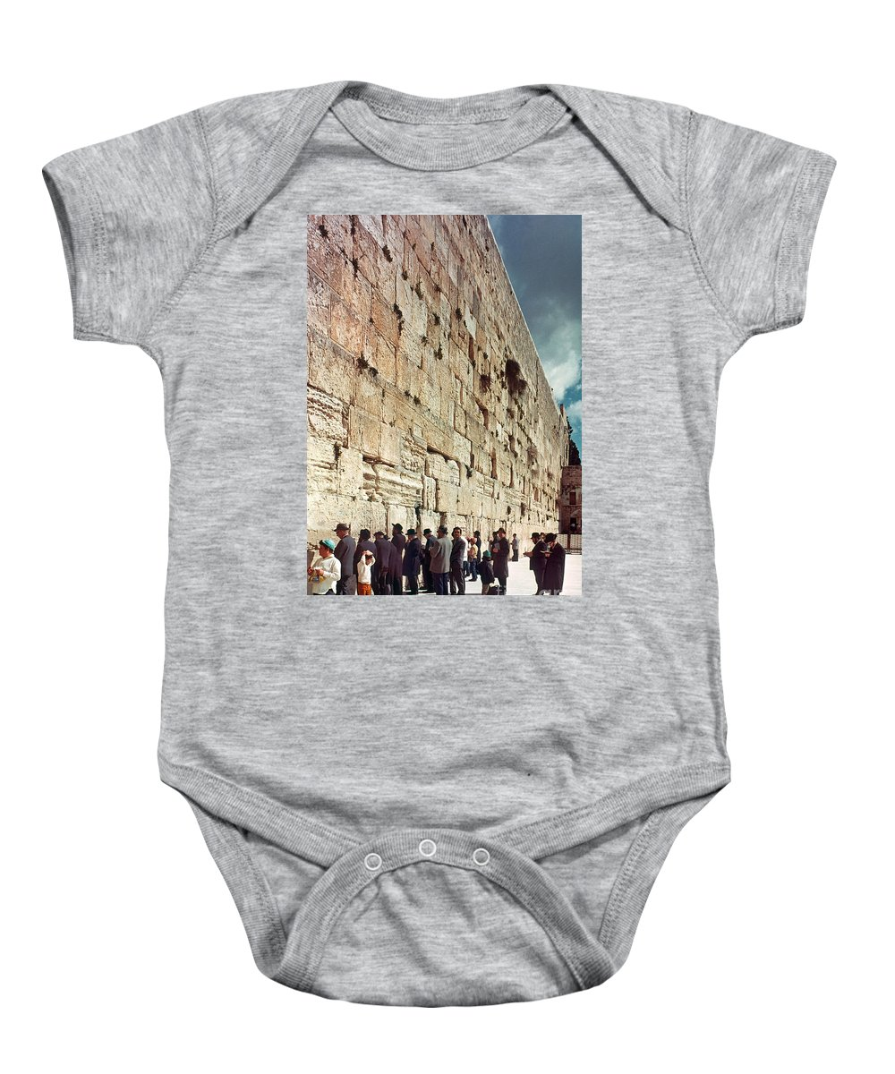 20th Century Baby Onesie featuring the photograph Jerusalem Wailing Wall - To License For Professional Use Visit Granger.com by Granger