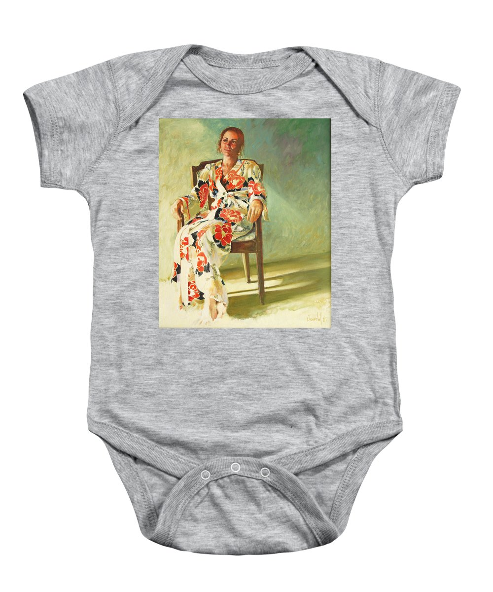 Girl Baby Onesie featuring the painting Jess by Rick Nederlof