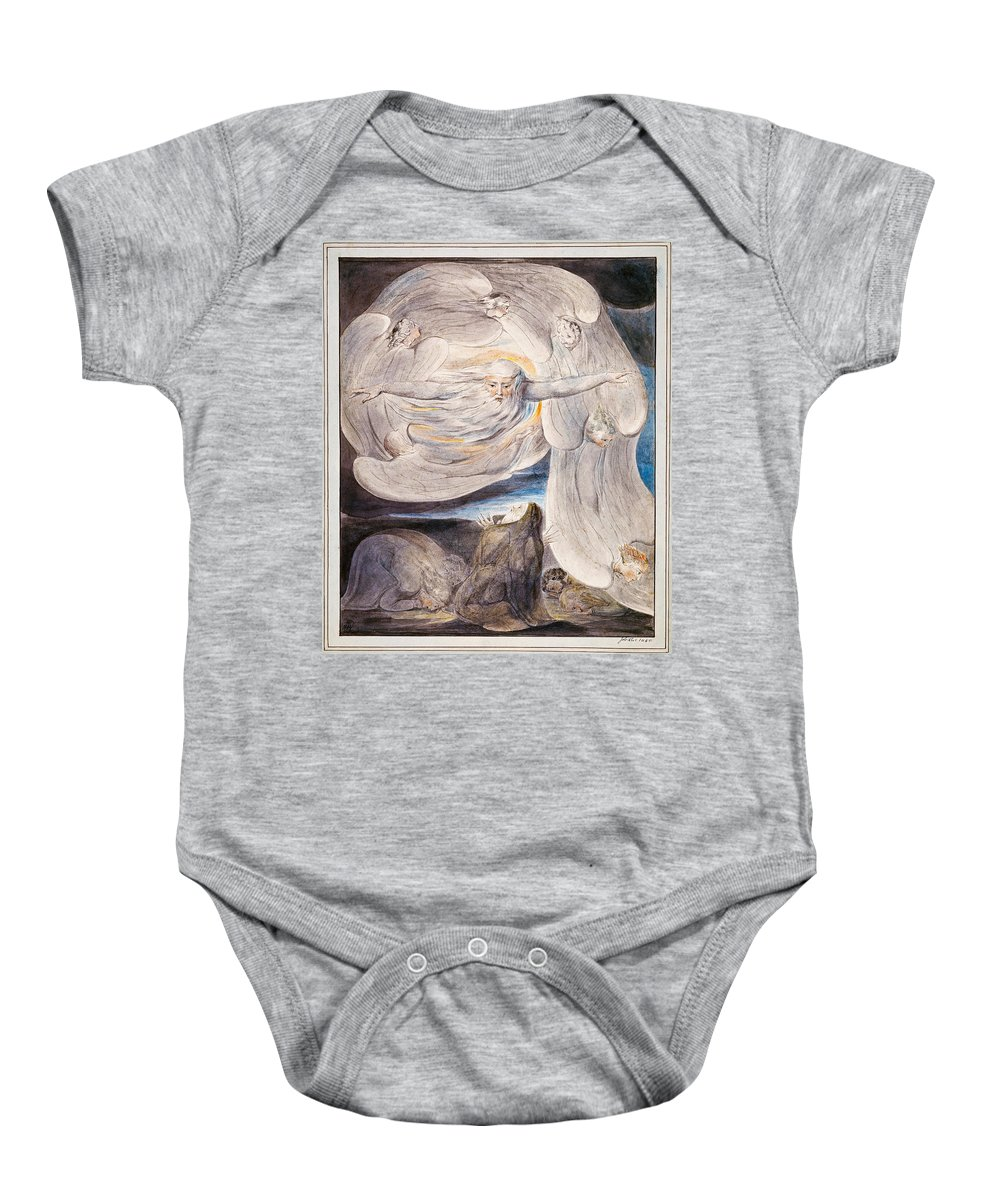 William Blake Baby Onesie featuring the painting Job Confessing His Presumption To God Who Answers From The Whirlwind by William Blake