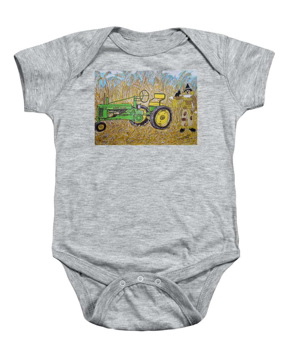John Deere Baby Onesie featuring the painting John Deere Tractor And The Scarecrow by Kathy Marrs Chandler