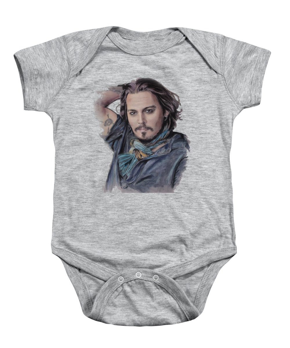 Johnny Depp Baby Onesie featuring the drawing Johnny Depp by Melanie D