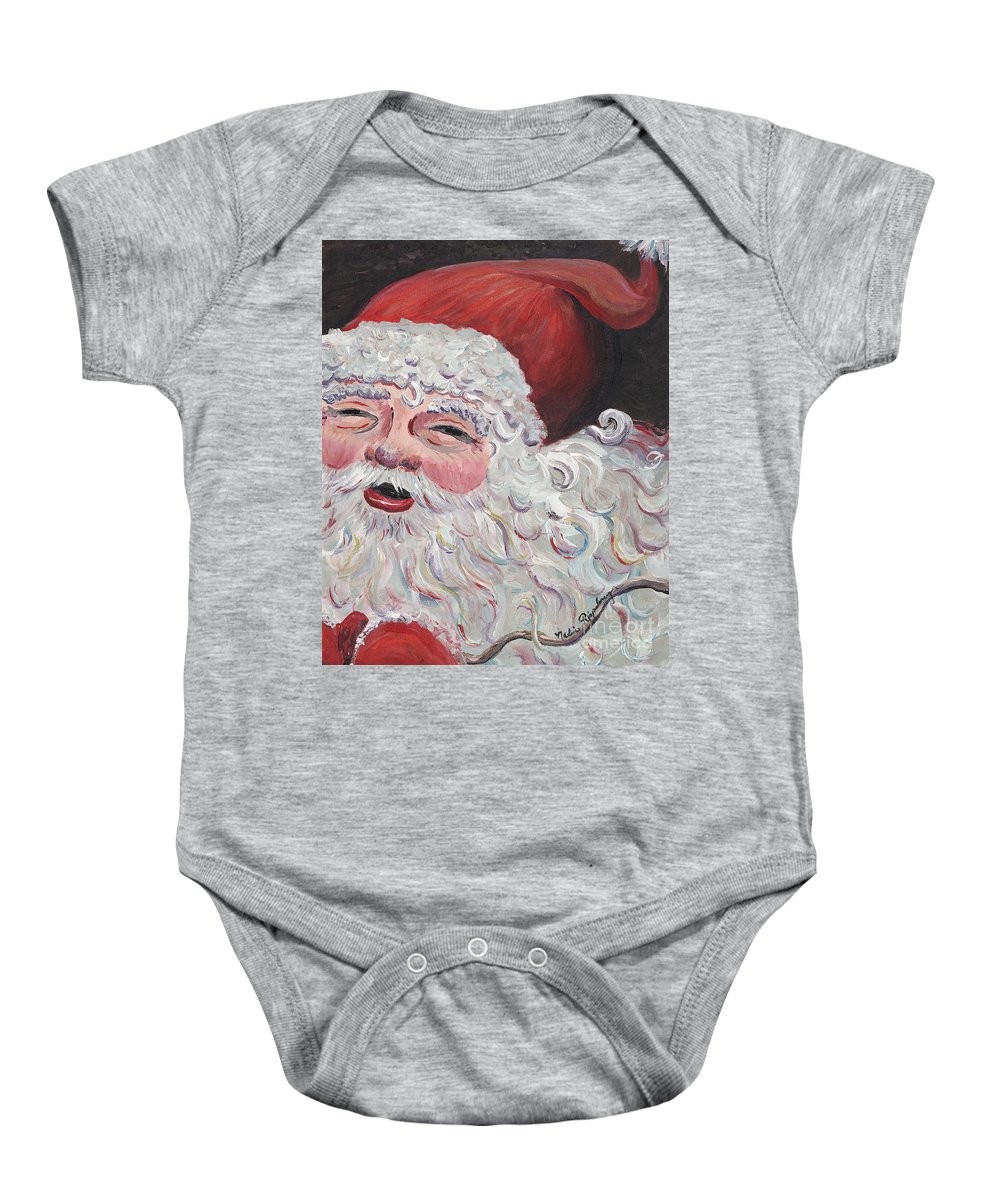 Santa Baby Onesie featuring the painting Jolly Santa by Nadine Rippelmeyer