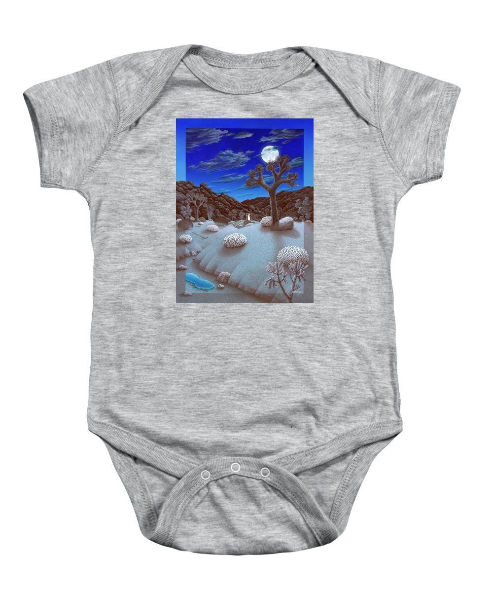 Landscape Baby Onesie featuring the painting Joshua Tree At Night by Snake Jagger