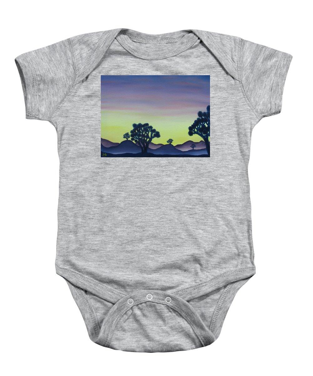 Joshua Tree Desert Landscape Canvas Prints California Desert Sunset Canvas Prints Desert Oil Painting Prints Baby Onesie featuring the painting Joshua Tree Sunset by Joshua Bales
