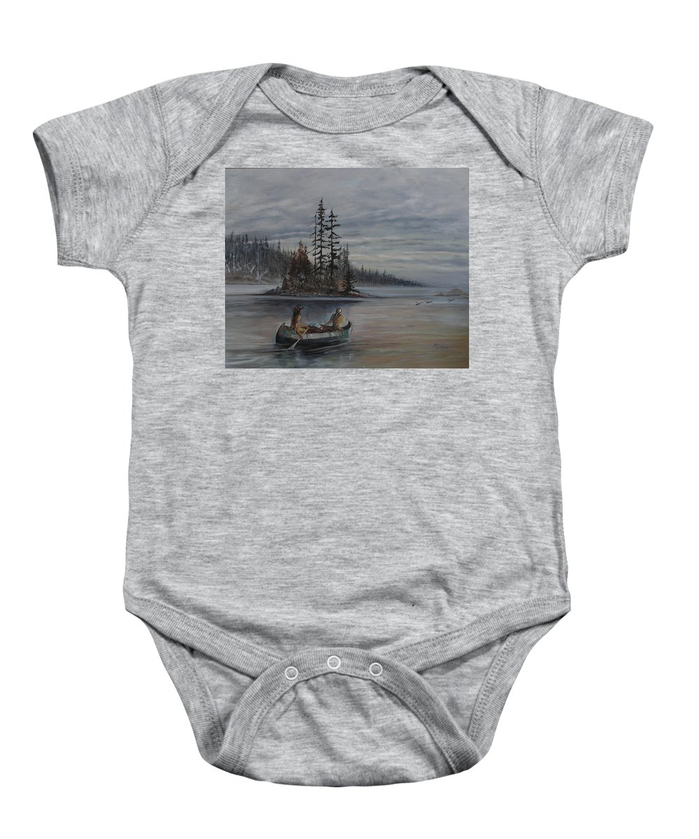 First Nation Baby Onesie featuring the painting Journey - Lmj by Ruth Kamenev