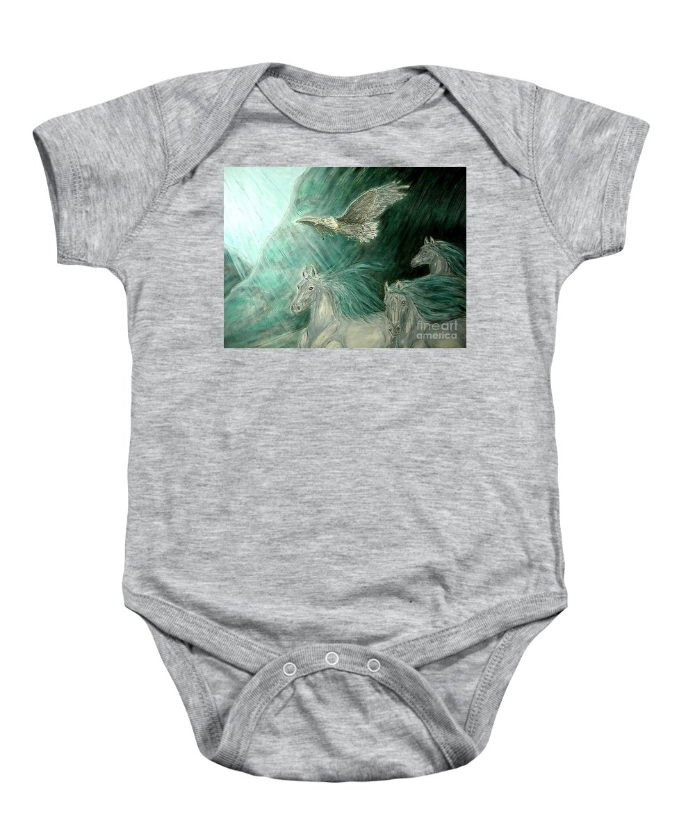 Animals Baby Onesie featuring the painting Journeyscape-out Of Darkness by Kim Jones