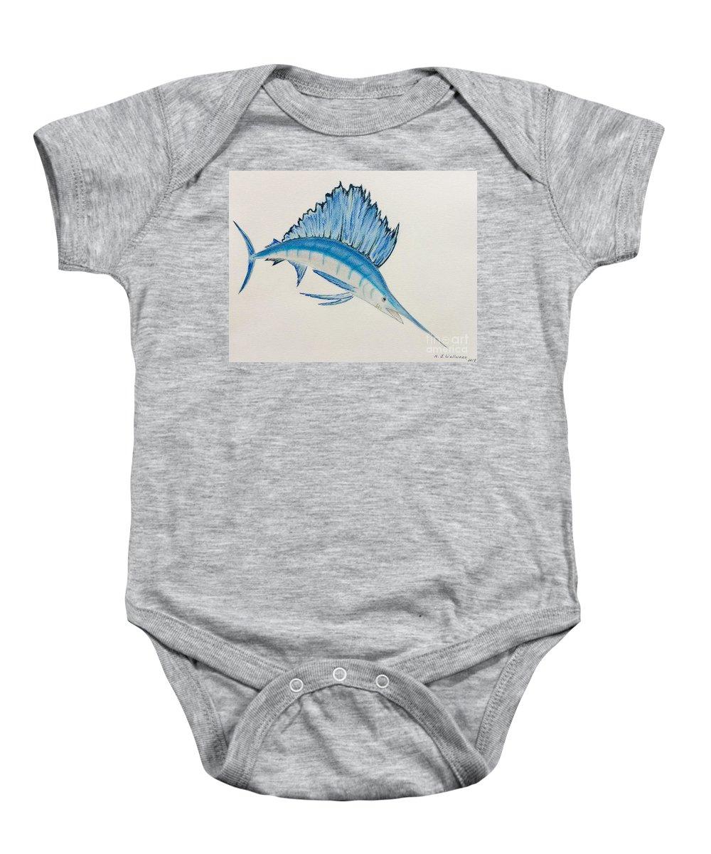 Swordfish Baby Onesie featuring the pastel Jumping Swordfish by Natalia Wallwork