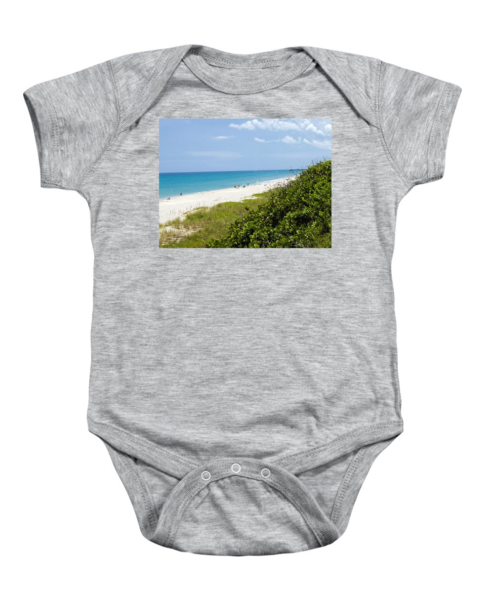 Juno; Florida; Loxahatchee; River; Jupiter; Inlet; Swim; Swimming; Children; Girl; Boy; Woman; Man; Baby Onesie featuring the photograph Juno Beach On The East Coast Of Florida by Allan Hughes