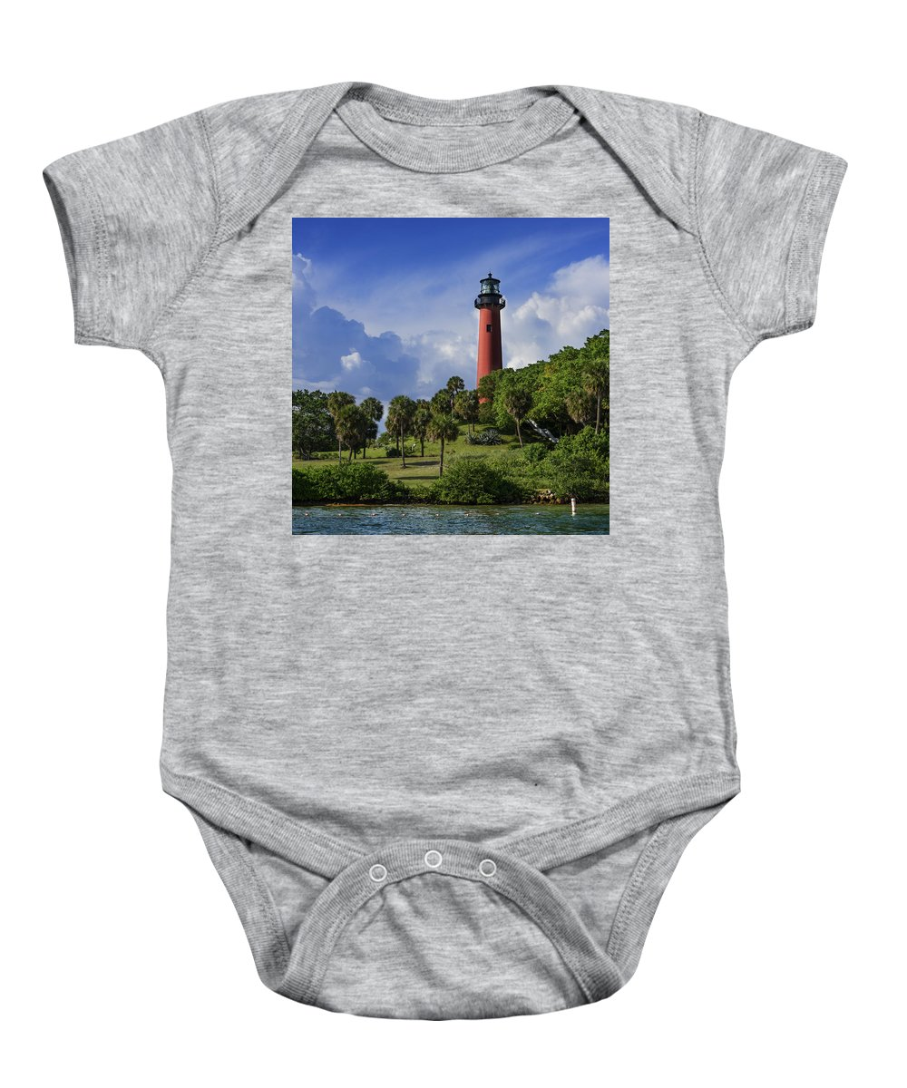 Lighthouses Baby Onesie featuring the photograph Jupiter Lighthouse Sq by Laura Fasulo