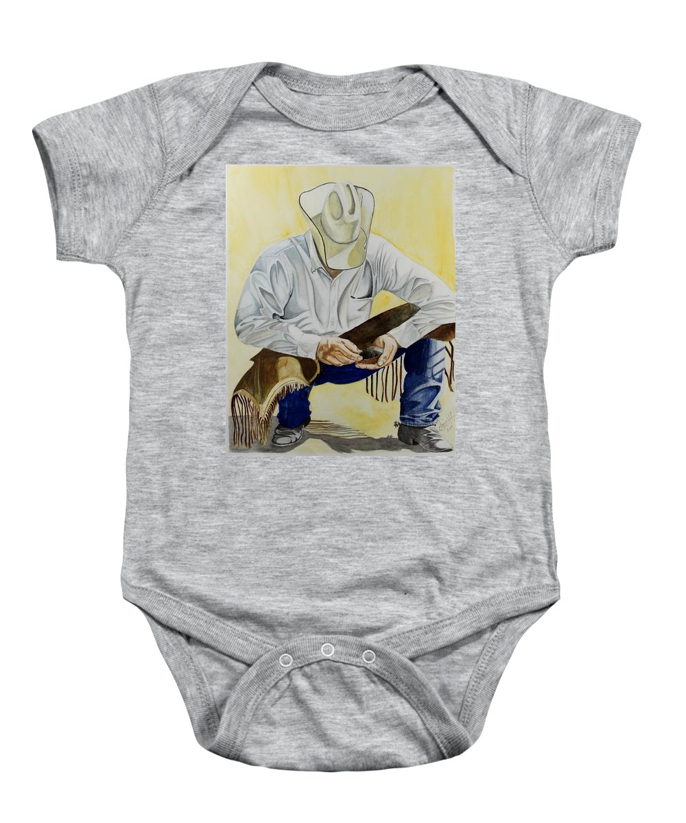 Boots Baby Onesie featuring the painting Just A Pinch by Jimmy Smith