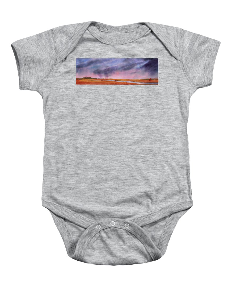 Prairie Baby Onesie featuring the painting Just Passing Through by Ruth Kamenev