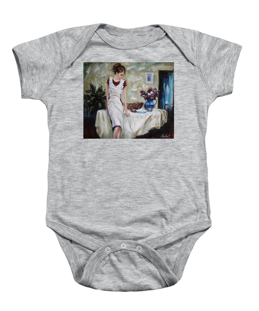 Figurative Baby Onesie featuring the painting Just the next day by Sergey Ignatenko