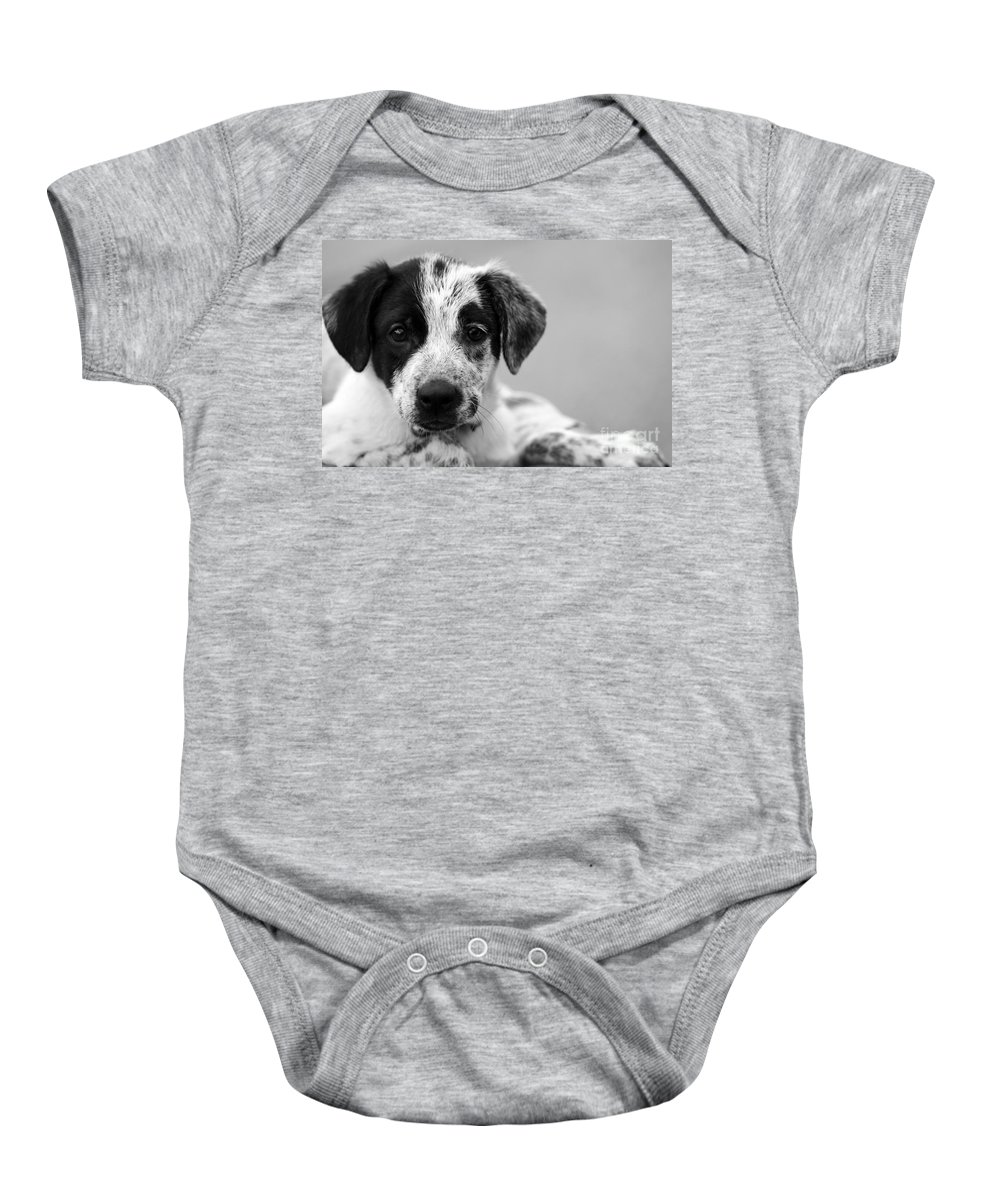 Dog Baby Onesie featuring the photograph Keep Me by Amanda Barcon