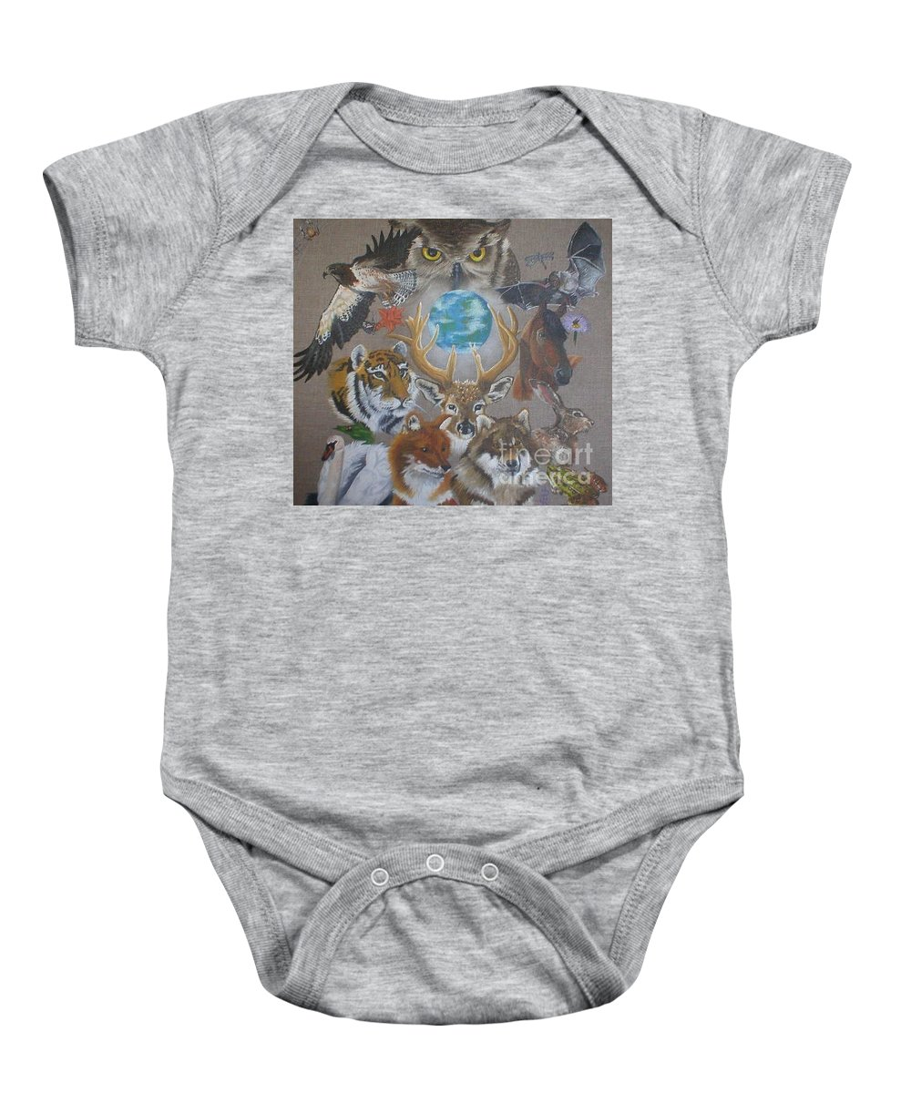 Earth Owl Bat Horse Hare Frog Wolf Deer Fox Swan Tiger Kestrel Spider Drogonfly Butterfly Ladybird Baby Onesie featuring the painting Keepers Of The Realm by Pauline Sharp