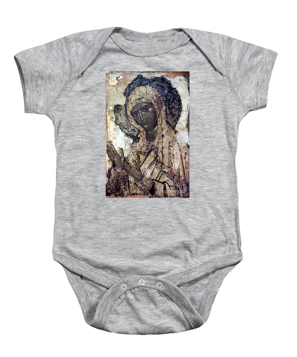 14th Century Baby Onesie featuring the photograph Khalkopratiyskaya Virgin by Granger