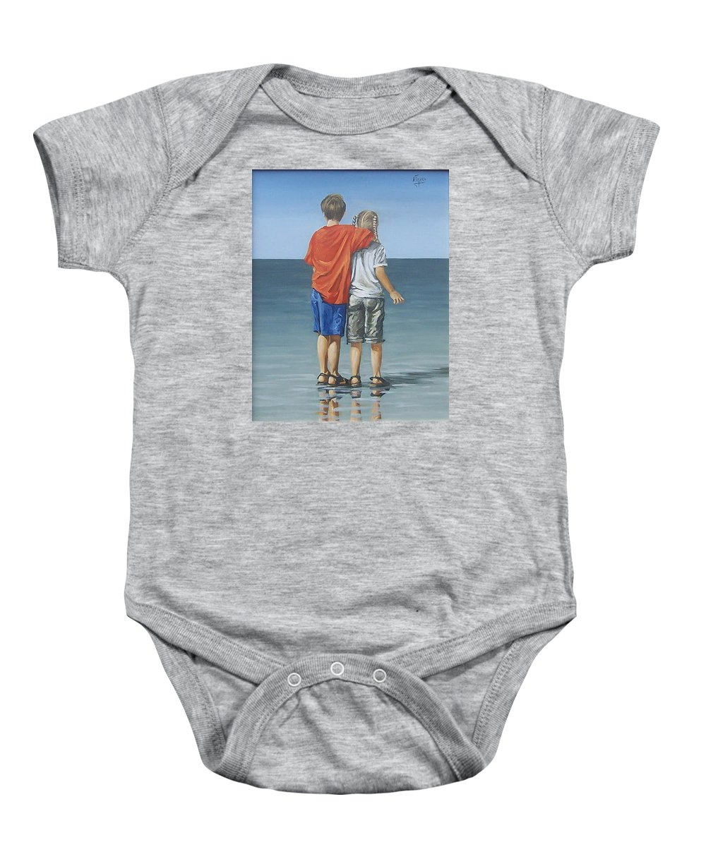 Kids Baby Onesie featuring the painting Kids by Natalia Tejera