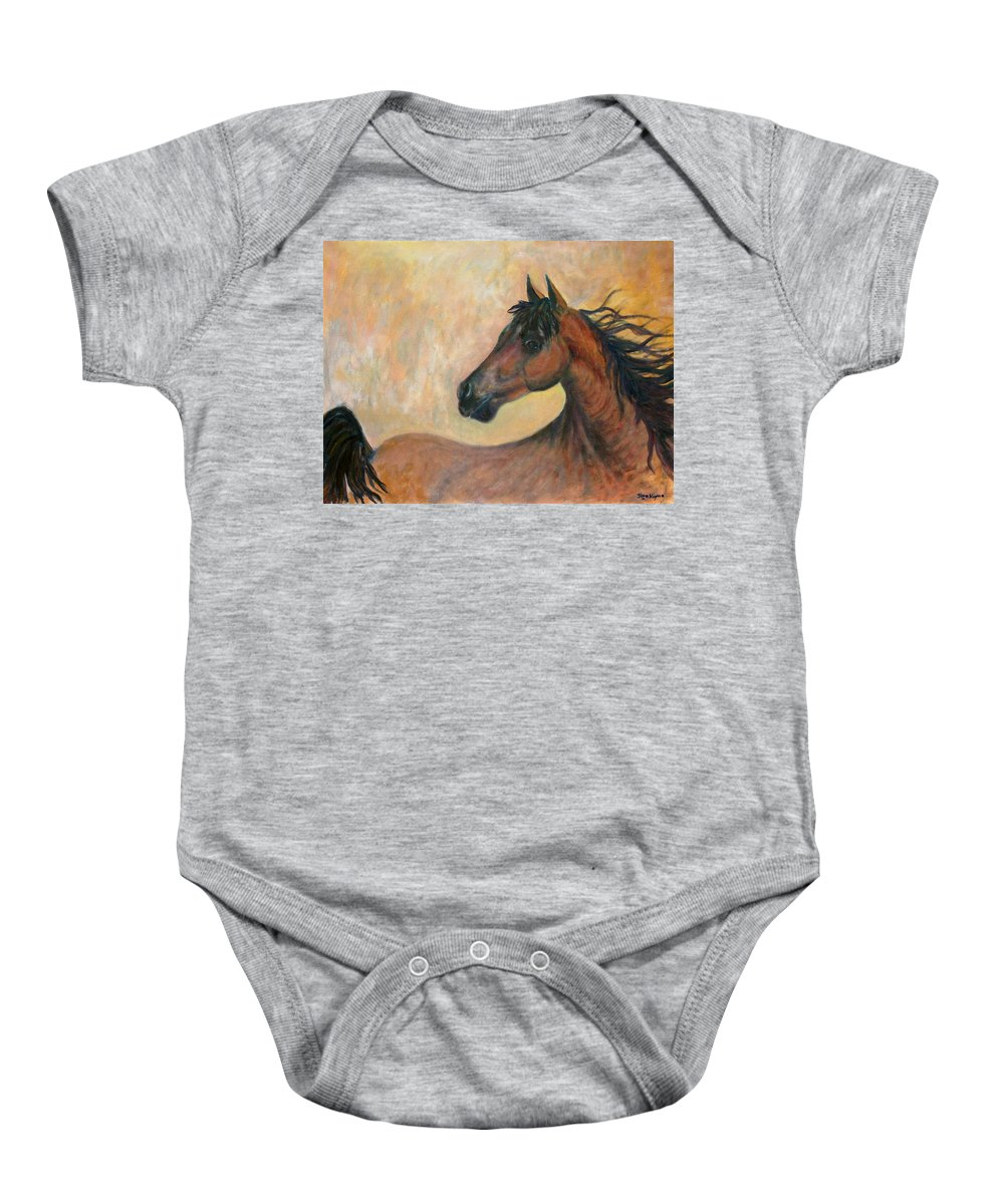 Horse Baby Onesie featuring the painting Kiger Mustang by Ben Kiger