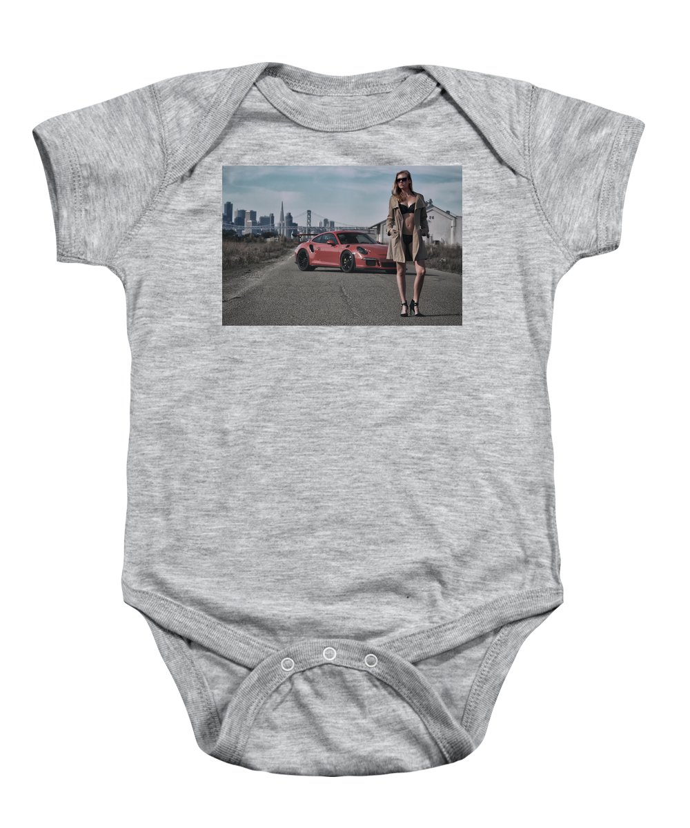 Kim Baby Onesie featuring the photograph #kim And #porsche #gt3rs #print by ItzKirb Photography