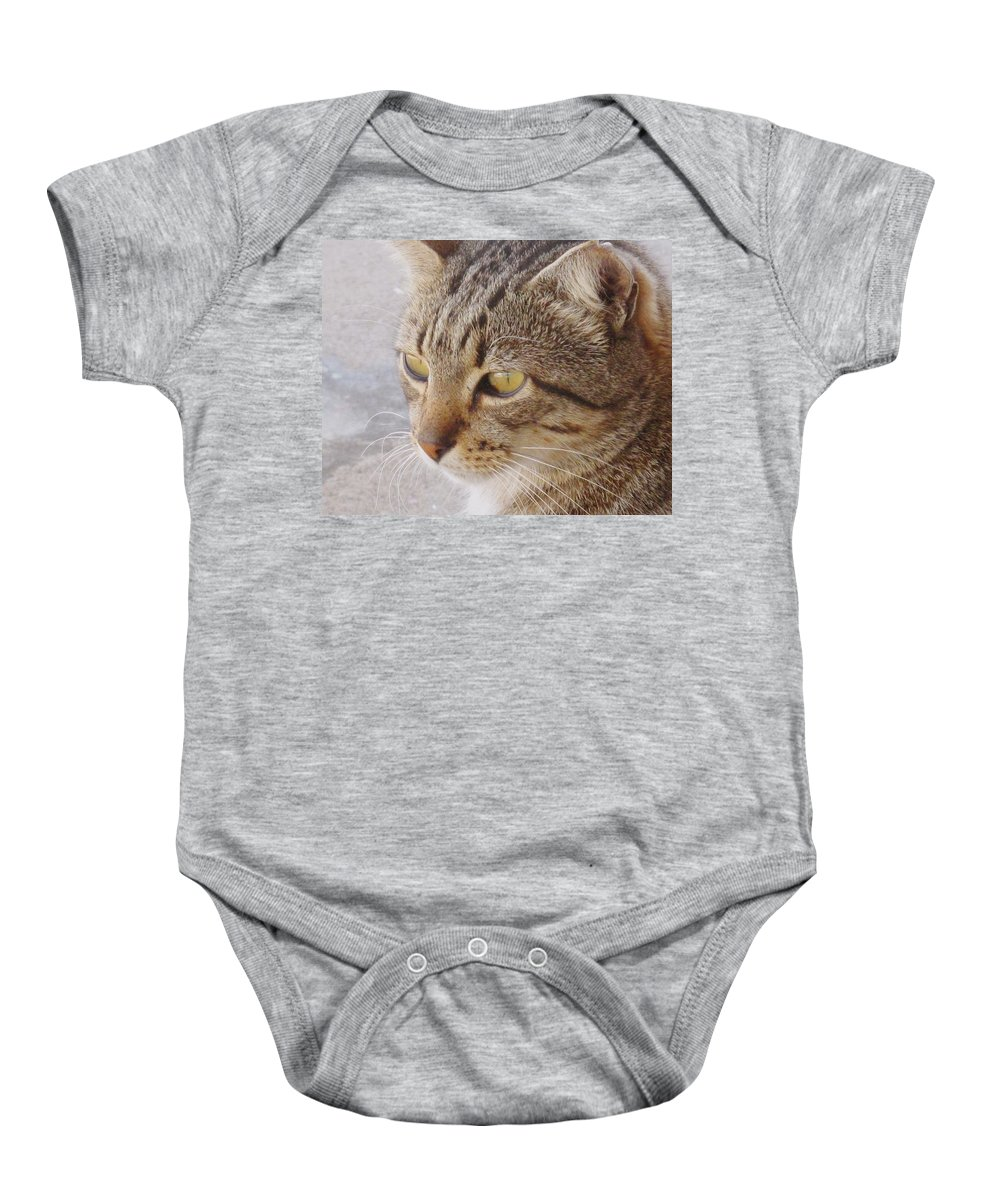 Cat Baby Onesie featuring the photograph King Cat by Ian MacDonald