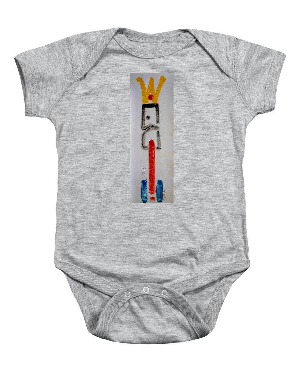 Figure Baby Onesie featuring the drawing King by Charles Stuart