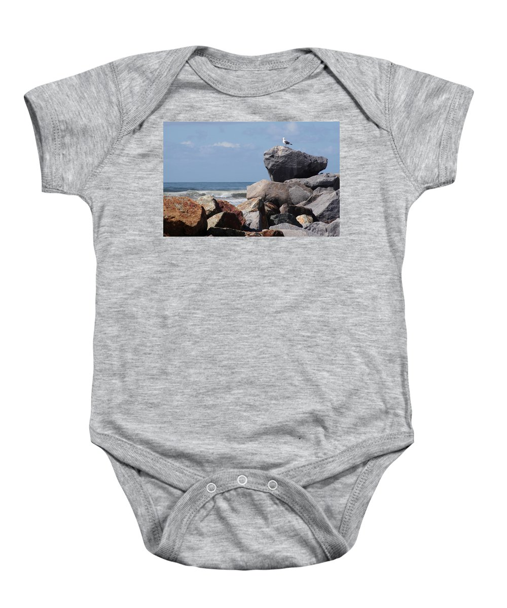Beach Baby Onesie featuring the photograph King of the Rocks by Margie Wildblood