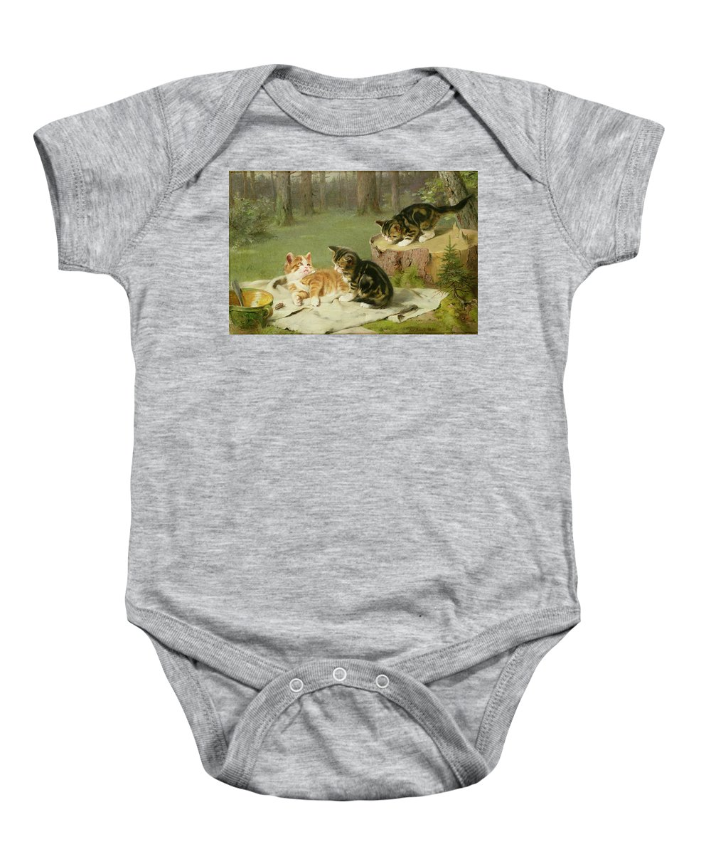 Kittens Playing (oil On Canvas) By Ewald Honnef (19th Century) Baby Onesie featuring the painting Kittens Playing by Ewald Honnef