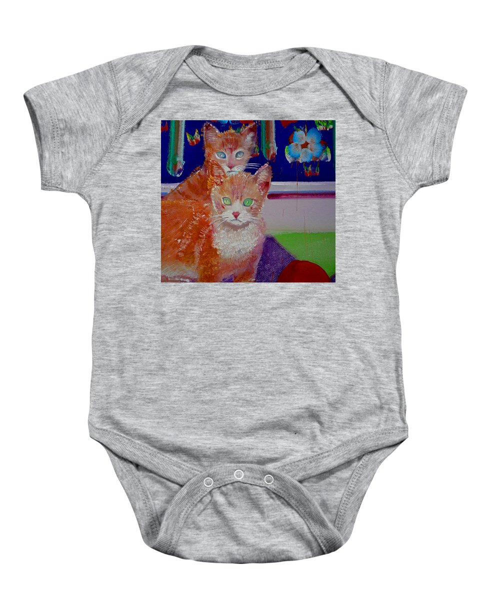 Kittens Baby Onesie featuring the painting Kittens With Wild Wallpaper by Charles Stuart