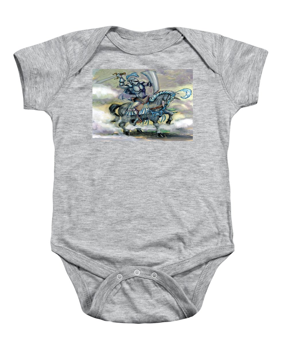Knight Baby Onesie featuring the greeting card Knight by Kevin Middleton