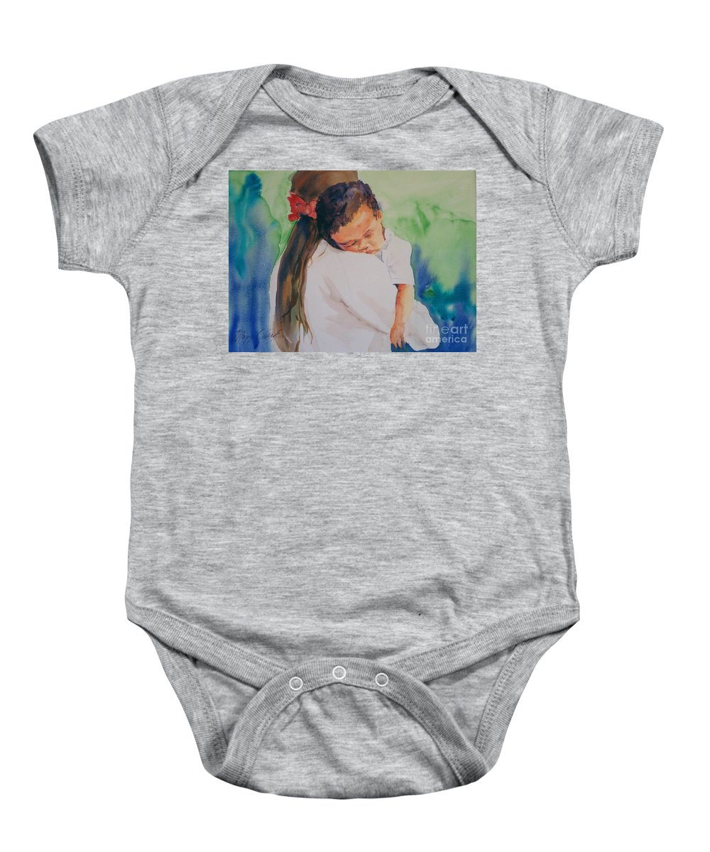 Original Custom Art Impressionistic Watercolor Mom And Baby Sleeping Baby Onesie featuring the painting Knocked Out by Maggie Clark