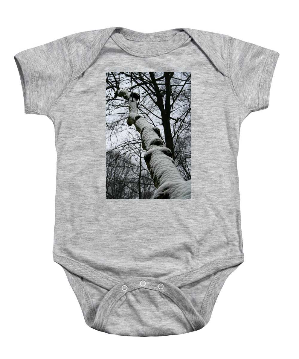 Nature Winter Snow White Cold Quite Peaceful Forest Woods Tree Cover Grey Knot Outdoor Baby Onesie featuring the photograph Knoted by Andrei Shliakhau