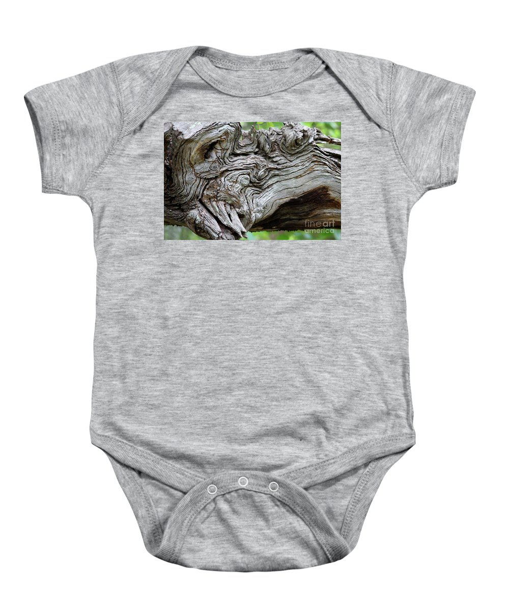 Knotty Tree Baby Onesie featuring the photograph Knotty Tree by Christiane Schulze Art And Photography