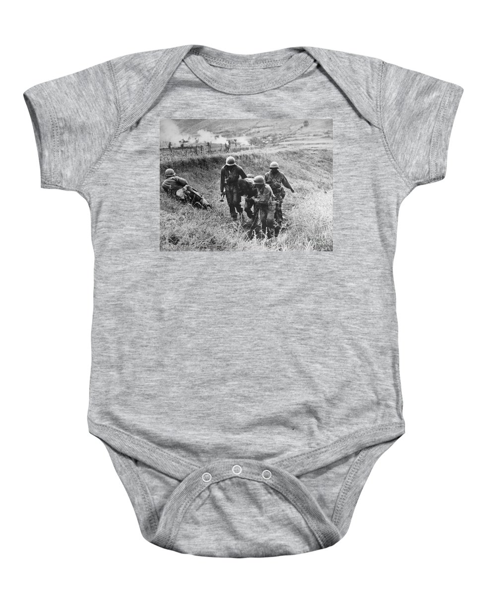 1950 Baby Onesie featuring the photograph Korean War: Wounded, 1950 by Granger