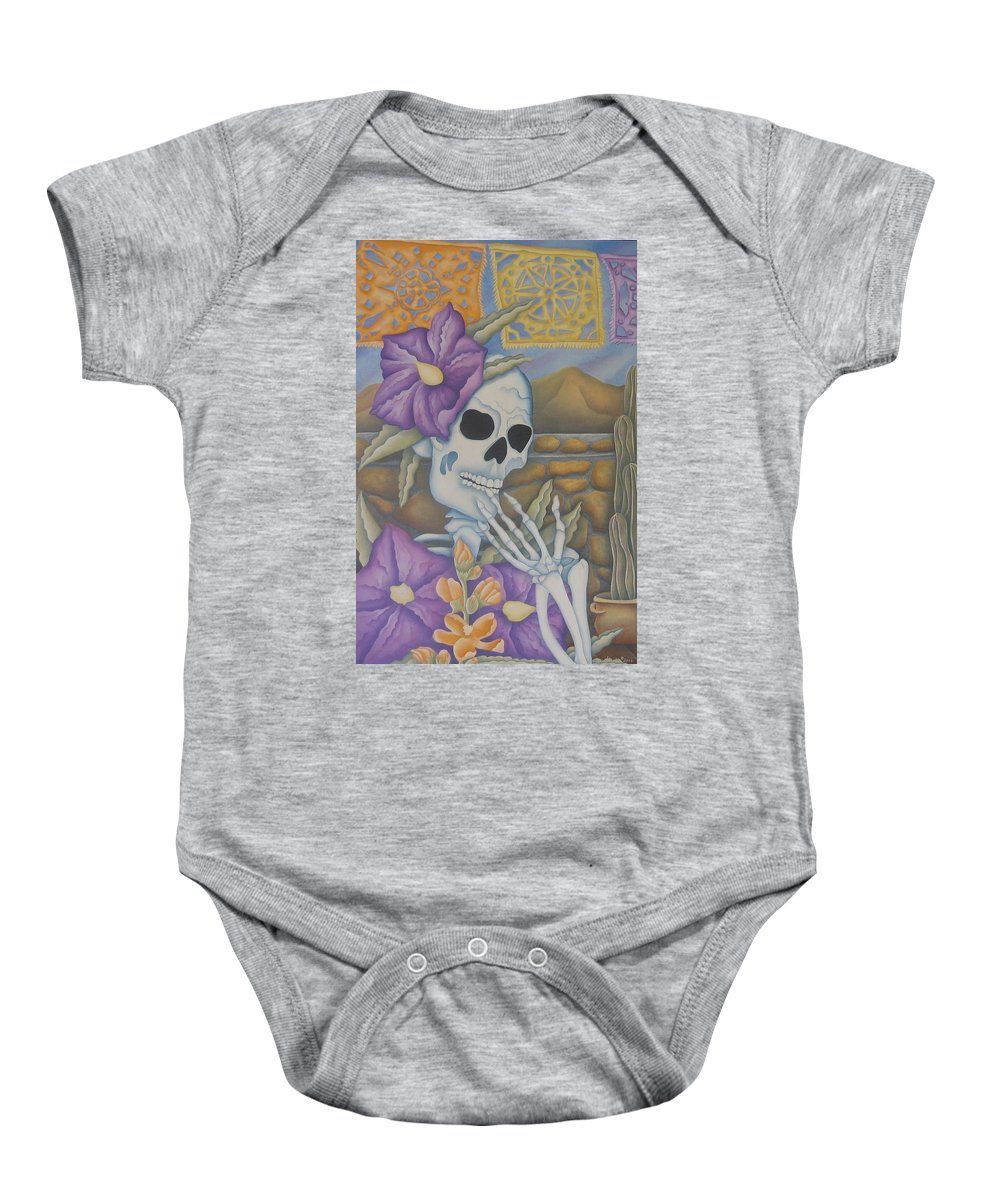 Calavera Baby Onesie featuring the painting La Coqueta- The Coquette by Jeniffer Stapher-Thomas
