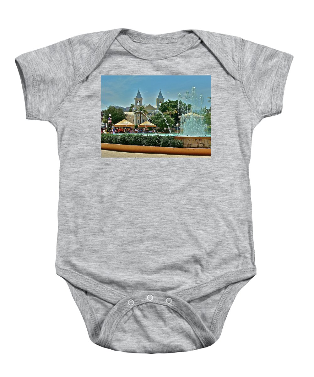 Church Baby Onesie featuring the photograph La Plaza by Diana Hatcher