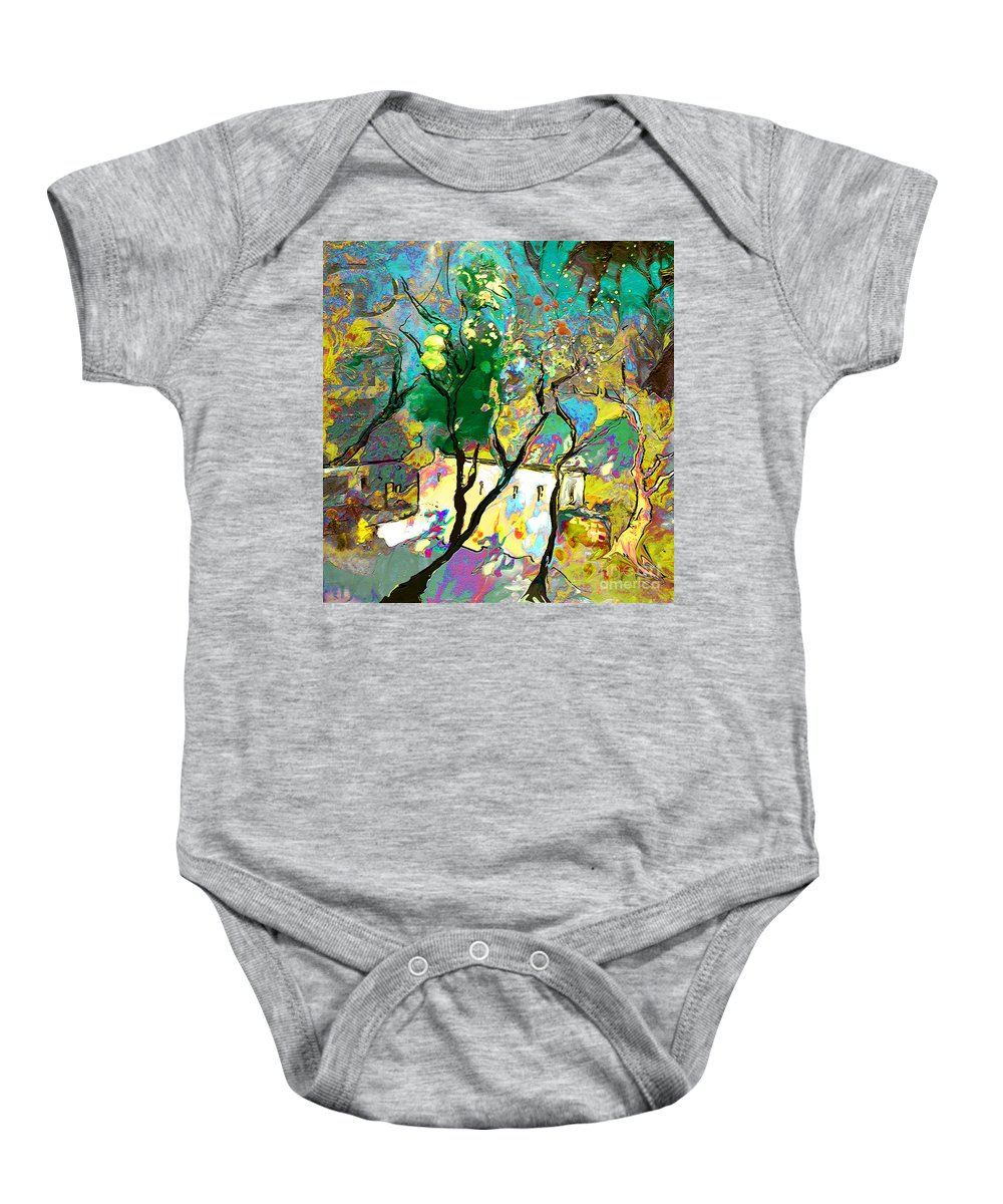 Miki Baby Onesie featuring the painting La Provence 16 by Miki De Goodaboom