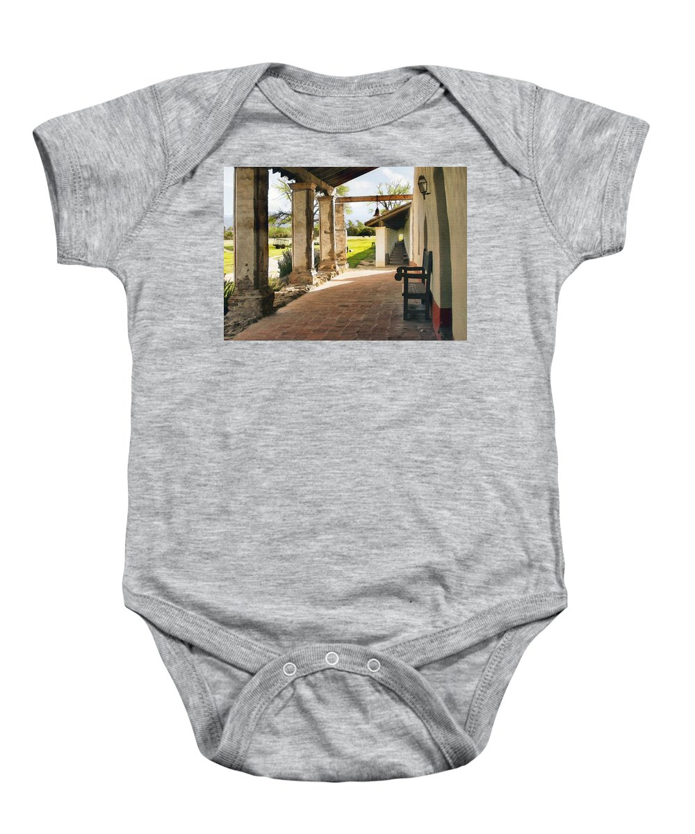 La Purisima Baby Onesie featuring the digital art La Purisima Long View by Sharon Foster
