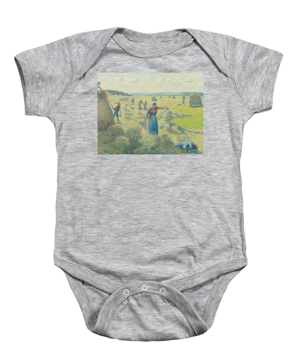 Camille Pissarro Baby Onesie featuring the painting The Harvesting Of Hay Eragny by Camille Pissarro