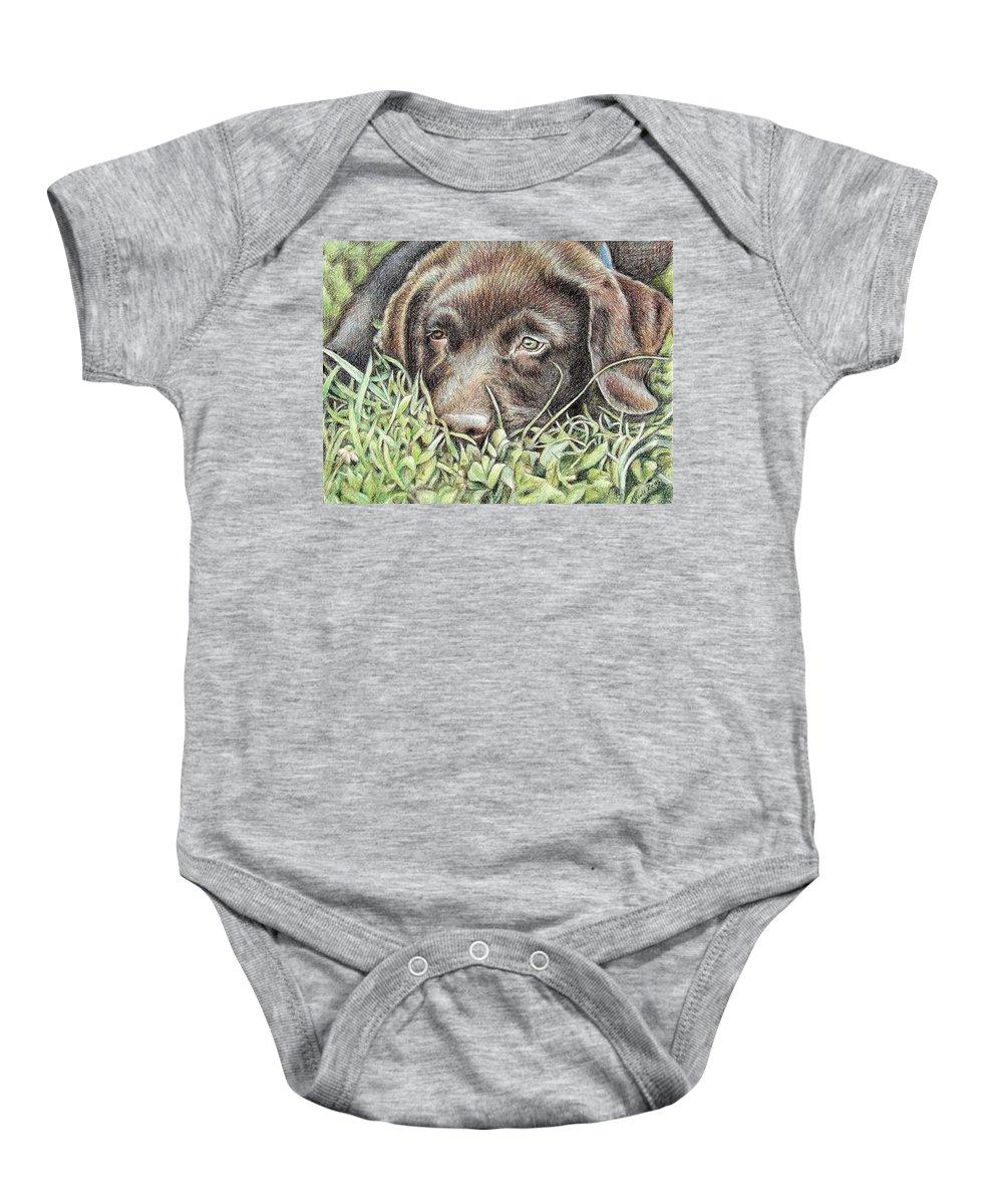 Dog Baby Onesie featuring the pastel Labrador Puppy by Nicole Zeug