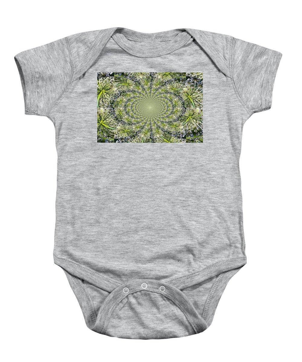 Kaleidoscope Baby Onesie featuring the photograph Lacey Kaleidoscope by Teresa Mucha